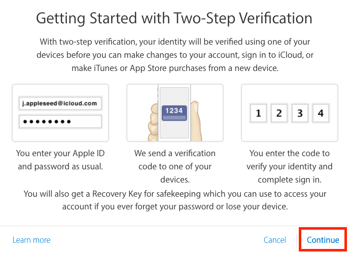 apple id two step recovery key